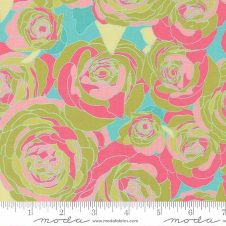 """Moda Fat Quarter 22""""x18"""" - Acreage Rose Spray Garden Grass 45501 15"""