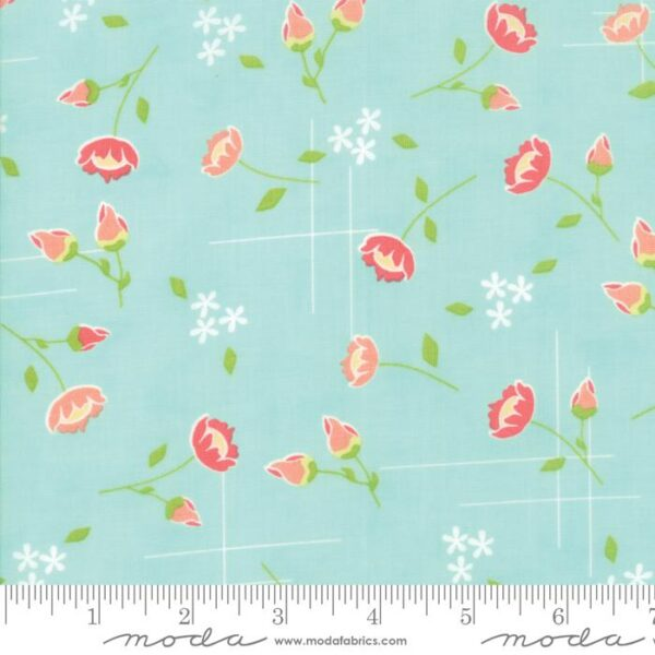 "Moda Fat Quarter 22""x18"" - Lulu Lane Aqua meadow 29021 19"