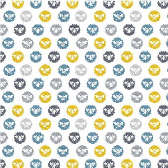 "Stuart Hillard Fat Quarter 22""x18 Sewing Bumble Bee Buttons Fabric"