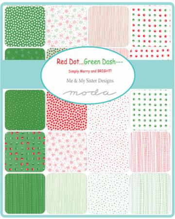 Moda Fabric Jelly Roll Red Dot Green Dash