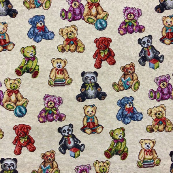 Teddy Bear Tapestry Fabric Curtains Upholstery Cushions 140cm wide